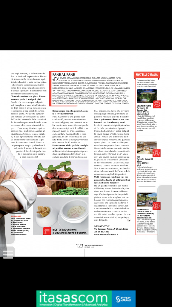 business people luglio 2016 roy caceres emozioni in tavola pag 122